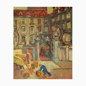 Left Bank Paris, inizio XX secolo, dipinto ad olio di Ann Tooth, 1935