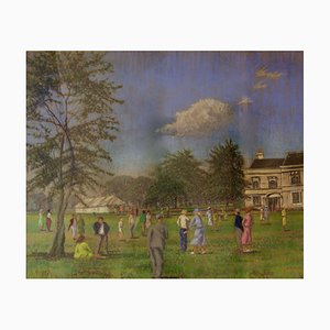 Country Celebration, Mid 20th Century, Impressionist Oil Piece of Manor House, 1950
