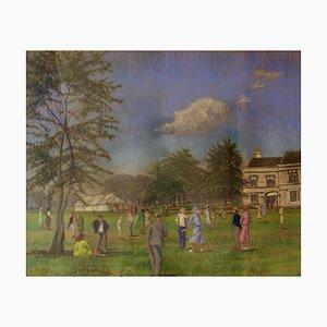 Festa di campagna, metà del XX secolo, olio impressionista di Manor House, 1950