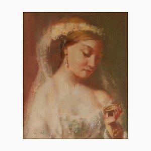Retrato de dama el día de la boda, mediados del siglo XX, pastel impresionista de Mason, años 50