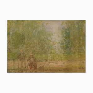 Two Old Men Sitting, Mid 20th Century, Impressionist Oil Pastel, William Mason, 1950s