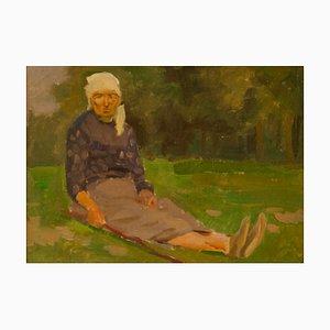 Pintura al óleo de mujer polaca, impresionista Mid-Century de Helena Krajewska, años 50