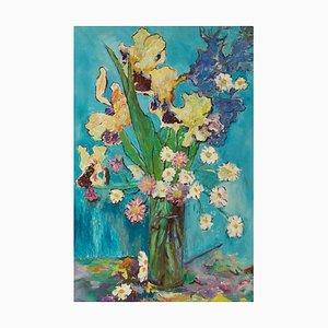 Blumen, Spätes 20. Jh., Stillleben, Ölpastell von Edwin Mendoza, 1990er