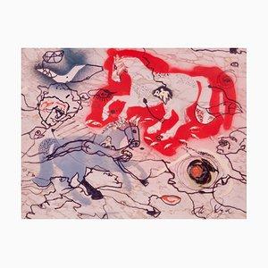 Long Chase, Late Mid 20th-Century, Abstract Mixed Media, Horses by De Goya, 1974