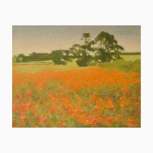 Paesaggio post impressionista, metà XX secolo, olio di M Noyes