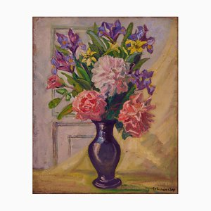 Still Life Flowers, Early 20th-Century, Oil on Canvas by E.C. Fisher Clay, 1930s
