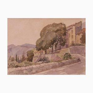 Acuarela de paisaje sobre papel Majorica, Mid-Century de Muriel Archer, años 60
