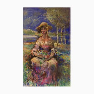 Portrait of a Girl in Nature, Mid 20th-Century, Oil by Michael Daguilar, 1940s