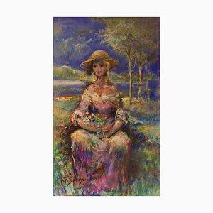 Retrato de una niña en la naturaleza, mediados del siglo XX, óleo de Michael Daguilar, años 40