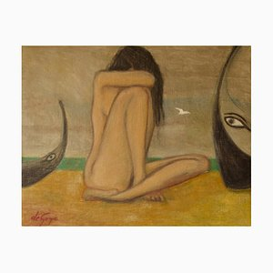 Abstract Girl on the Beach, Mid 20th-Century, Oil Painting by George De Goya, 1950s
