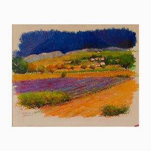Provence Sud de la France, Début du 21ème Siècle, Paysage Pastel à l'Huile par Hancock, 2000