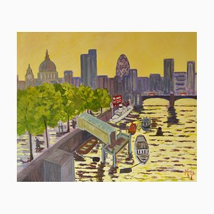 Early Morning River Thames, Early 21st Century, Impressionist Piece of London, 2005
