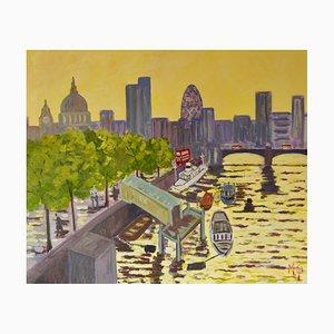 Temprano en la mañana del río Támesis, principios del siglo XXI, obra impresionista de Londres, 2005