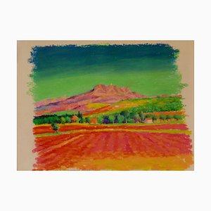 Provence, Early 21st Century, Oil Pastel of Landscape France by K.B. Hancock, 2000s