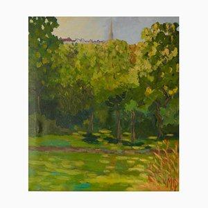 Looking Up to Highgate, spätes 20. Jh., Landscape of Park in London von Quirke, 1990er