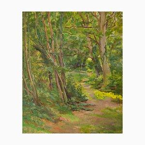Spring Holzlandschaft, Mitte 20. Jh., Impressionistisches Öl von Dorothy King, 1965