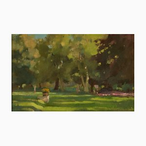 Summer Park 2, metà XX secolo, olio impressionista di Rickards, anni '60