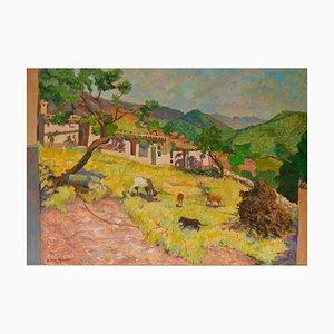 Paesaggio di un villaggio di montagna, fine XX secolo, olio di Olwen Tarrant, anni '80
