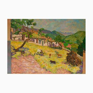 Paisaje de pueblo de montaña, finales del siglo XX, pastel al óleo de Olwen Tarrant, años 80