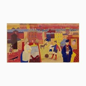 Seaside Town Impressionist, Mitte des 20. Jahrhunderts, Aquarell von Ruth Burden 1951
