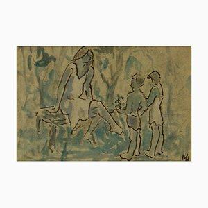 Madre e bambini, metà del XX secolo, pezzo impressionista, Muriel Archer, 1950