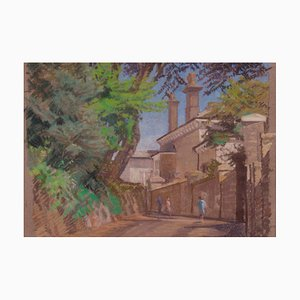 English Town, Late 20th Century, Impressionist Oil Pastel Town, William Henry Innes, 1970