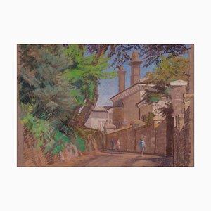 Pueblo inglés, finales del siglo XX, pastel al óleo impresionista, William Henry Innes, 1970