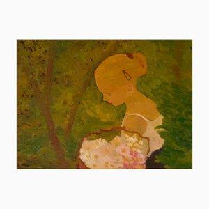 Giovane donna con fiori, fine XX secolo, olio impressionista, Alan Lambirth, 1985