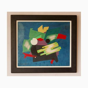 Abstract Oil Piece, Mid 20th-Century, Mixed Media by George De Goya, 1970s