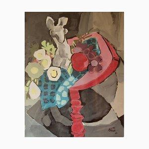 Abstraktes Stillleben, Vase mit Obst auf Tisch, Aquarell von Nina, 1969