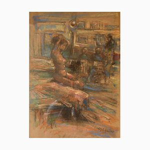Dans L'Atelier Mardi, Mid-Century, bodegón desnudo, óleo de Michael Daguilar, 1943