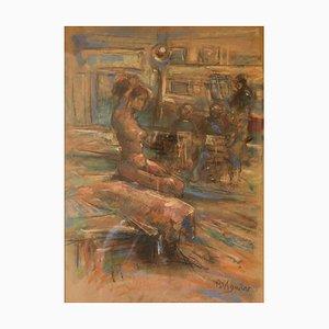 Dans L'Atelier Mardi, Mitte 20. Jh., Nude Still Life, Öl von Michael Daguilar, 1943