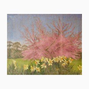 Albero in fiore di melo e dente di leone, metà XX secolo, paesaggio impressionista, anni '50