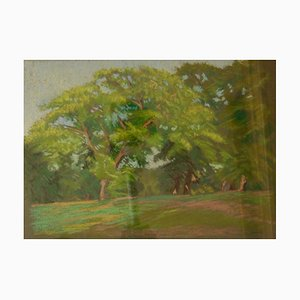 Forest, Late 20th-Century, Impressionist Oil Pastel Landscape by William Innes, 1960s