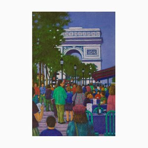 Arc De Triomphe Paris, finales del siglo XX, óleo impresionista, James B. Woods