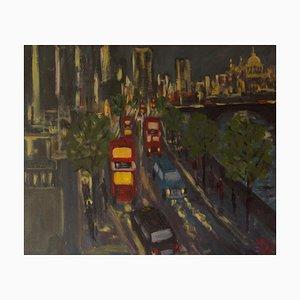 Terraplén de noche, finales del siglo XX, acrílico impresionista, Piece of London, años 90