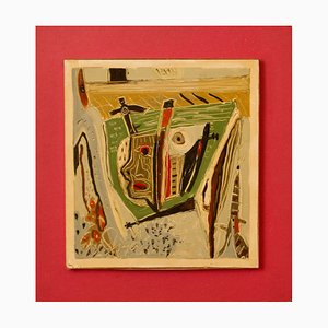 Hidden Sorrow, Mid 20th-Century, Mixed Media on Wood, Abstract by George De Goya, 1973