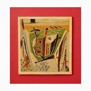 Hidden Sorrow, Mitte des 20. Jahrhunderts, Mixed Media on Wood, Abstract von George De Goya, 1973