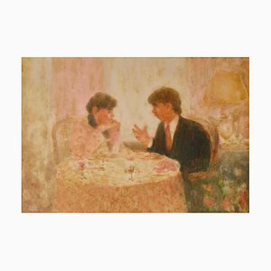 The Conversation at Restaurant, Mid 20th Century, Impressionist Pastel, Mason, 1960
