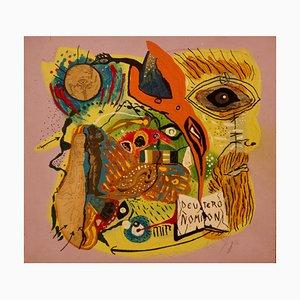 Deuteronomio, finales del siglo XX, técnica mixta abstracta sobre madera de George De Goya, 1976