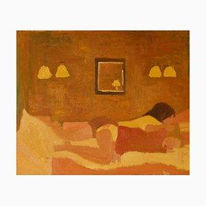 Lesben Paar im Bett, spätes 20. Jahrhundert, Ölgemälde von Alan Lambirth, 1985