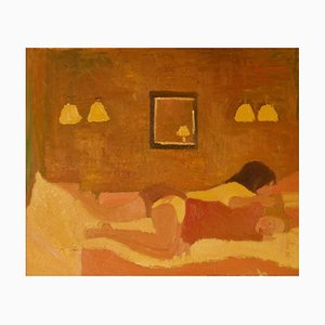 Lesbian Couple in Bed, Late 20th-Century, Oil Painting by Alan Lambirth, 1985