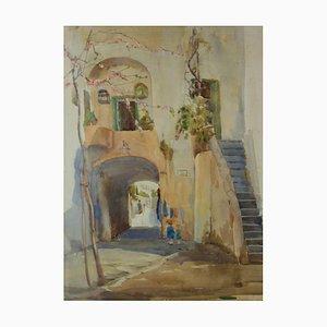 Acuarela impresionista de pueblo italiano, mediados del siglo XX de Bennett, años 50
