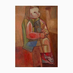 Abstract Cubist Girl on Chair, Mid 20th-Century, Oil by Dennis Henry Osborne, 1961