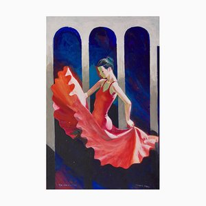 The Red Dancer, Mid-Late 20th-Century, Figurative Elegant Ballet by Frank Hill, 1970s