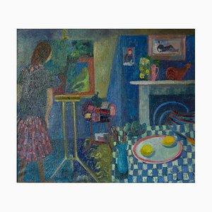 Pintura en la cocina, finales del siglo XX, óleo de artista trabajando de Ruth Burden, años 90