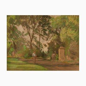 Sentiero nel giardino, pastello, William Henry Innes, 1960
