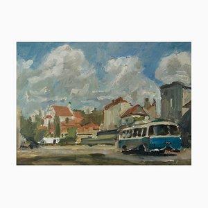 Kazimierz en Polonia, aceite impresionista, Krajewska, 1970