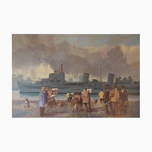 Grupo de artistas Wapping de The Thames, mediados del siglo XX, óleo, Donald Blake, 1950