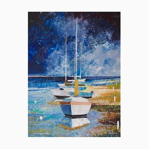 The Dingy Park, Impressionist Oil, Sailing Yachts, Frank Hill, 1970